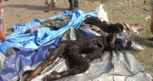 جثث متفحمة لمدنيين ققضوا في غارة العدوان السعودي على سوق شعبية في تعز (المستقبل)